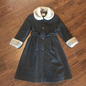 Rothschild Grey Wool Coat with Furr Trim